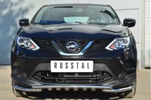 Nissan Qashqai 2014- Защита переднего бампера d42 (секции) d42 (уголки)+клыки NQQZ-001784